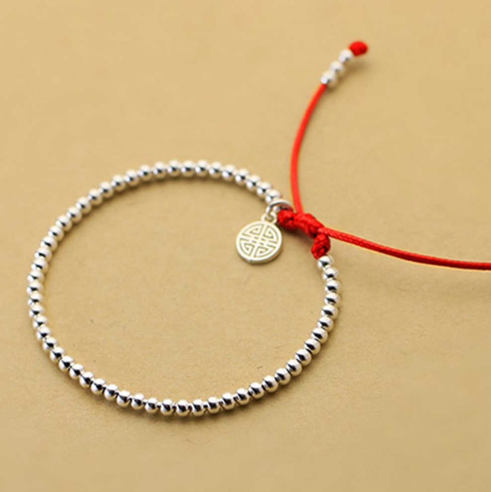 925 Sterling Silver Ball Celtic Symbol Red Cord Stacking Bracelet