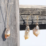 Natural Rough Citrine Gold Necklace and Earrings Set