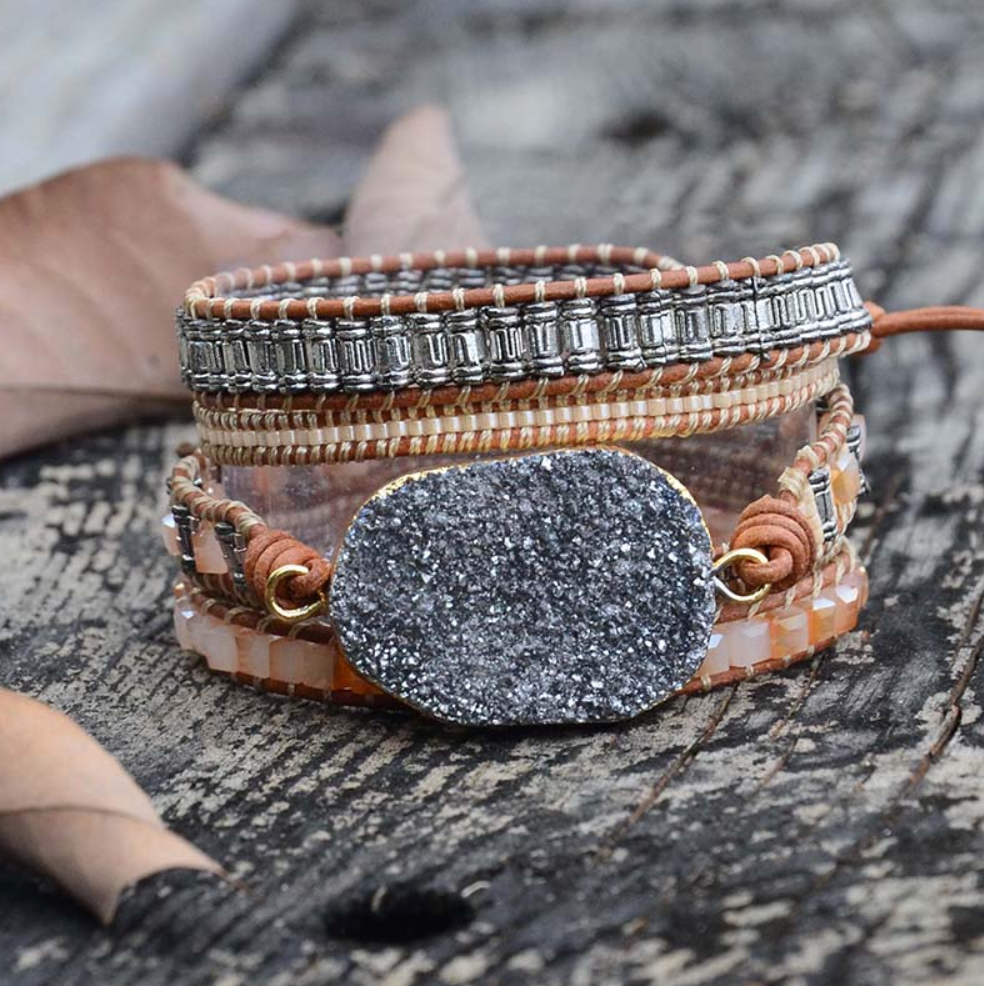 Natural Stone Beaded Tila and Miyuki Beads Druzy Wrap Bracelet