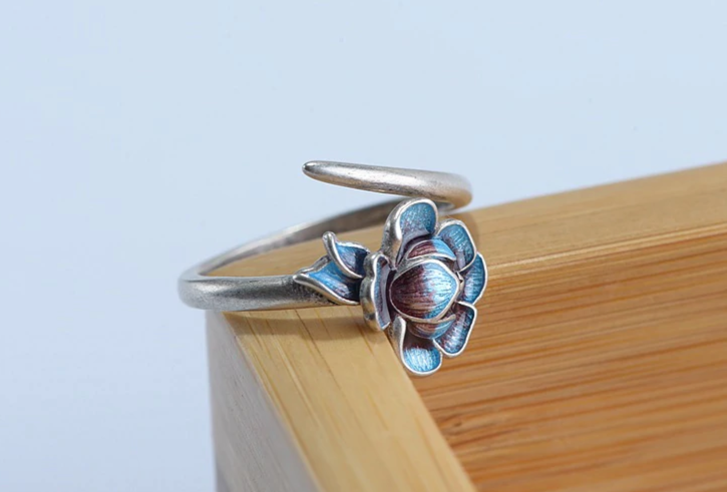 925 Sterling Silver Blue Enamel Lotus Flower Adjustable Wrap Ring