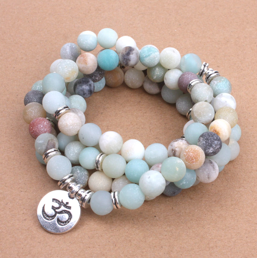 Amazonite Beaded Bracelet Wrap, Mala Beads Necklace Yoga Gemstone Om