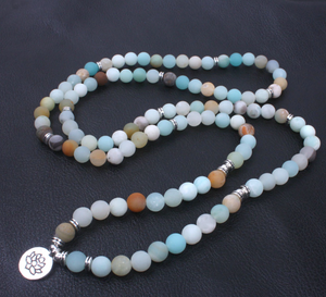 Amazonite Beaded Bracelet Wrap, Mala Beads Necklace Yoga Gemstone Om - Egret Jewellery