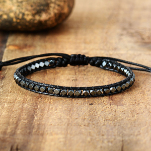 Slim Silver Hematite Beaded Cord Stacking Bracelet - Egret Jewellery