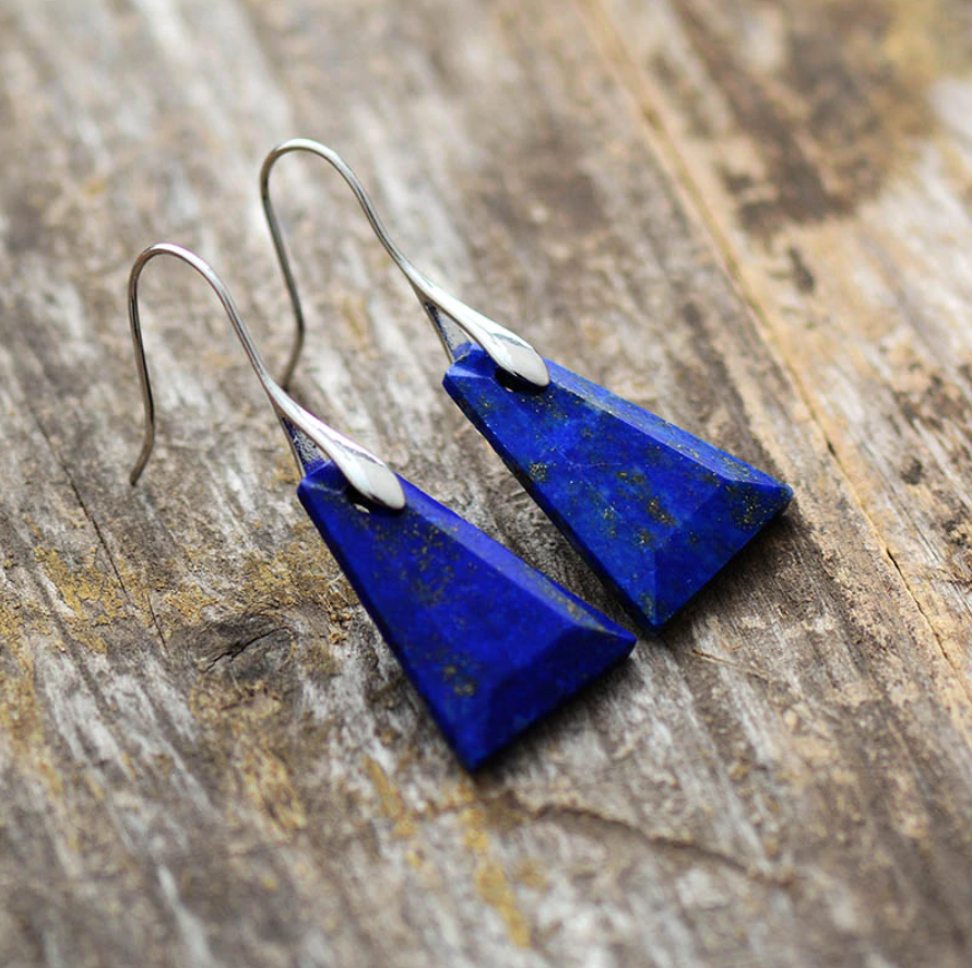 Sterling Silver Natural Lapis Lazuli Triangle Dangle Drop Blue Earrings - Egret Jewellery