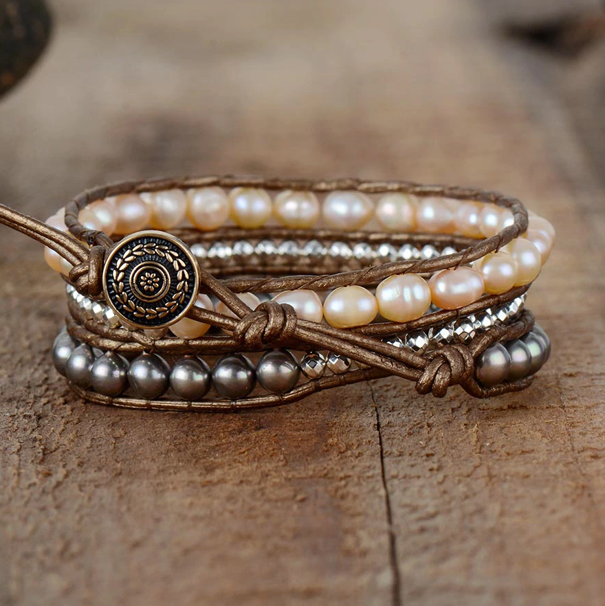 Natural Genuine Freshwater Pink Pearl Leather Wrap Bracelet Beaded Beads Grey - Egret Jewellery