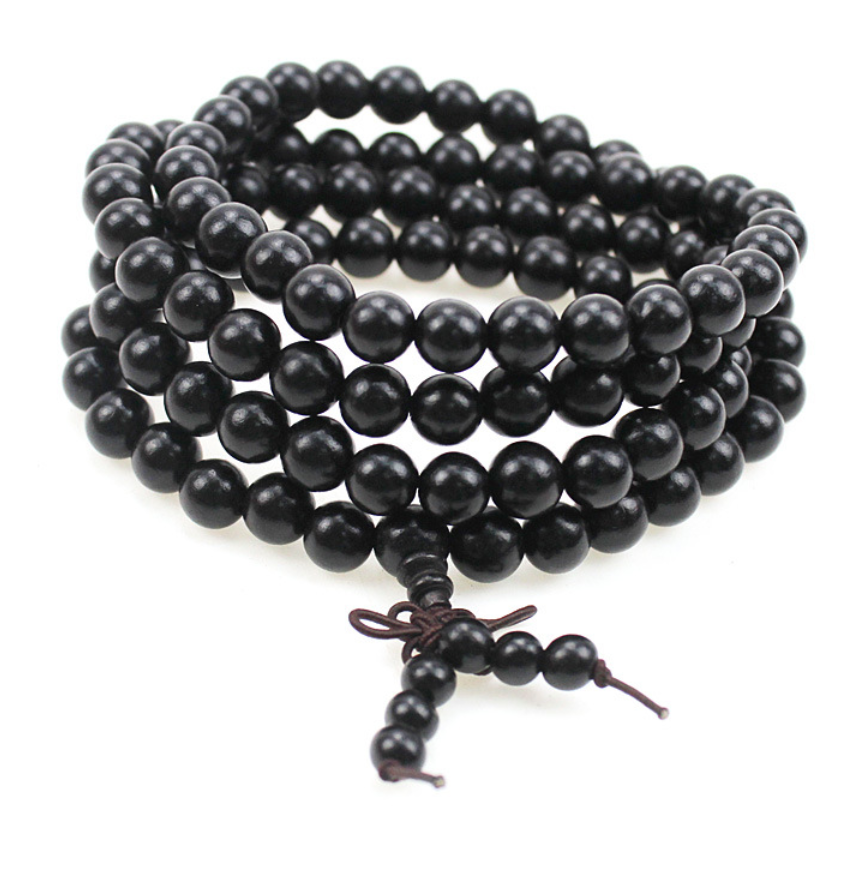 Beaded Long Mala Wooden Tibetan Buddhist Prayer Necklace Black - Egret Jewellery