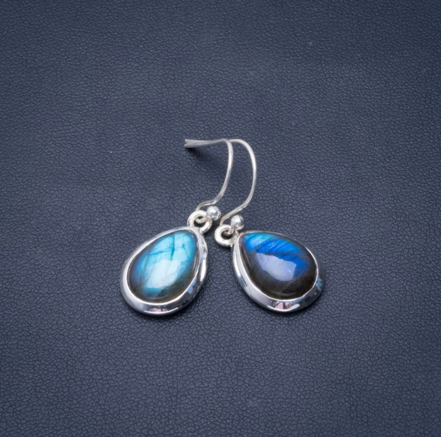 Natural Gemstone Labradorite Teardrop Sterling Silver Dangle Drop Earrings Boho - Egret Jewellery