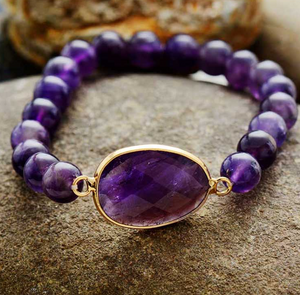Natural Amethyst Geode Elastic Stacking Cuff Bracelet - Egret Jewellery