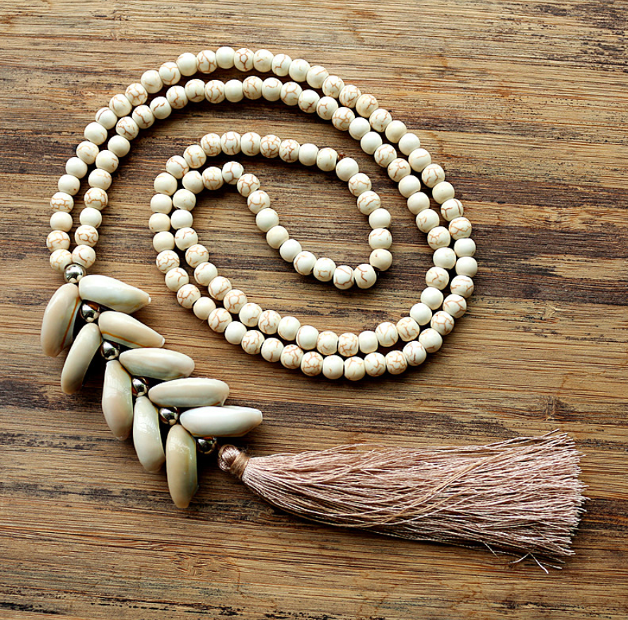 Natural Gemstone Beaded Cream Howlite Cowrie Shell Mala Tassel Necklace - Egret Jewellery