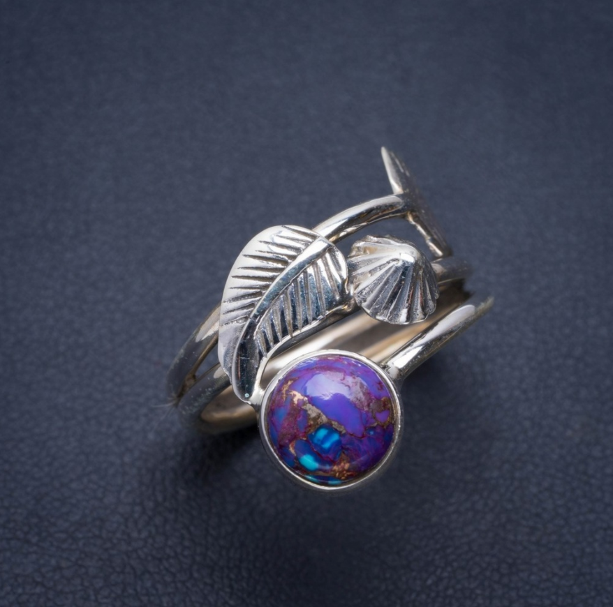 925 Sterling Silver Peacock Ore Gemstone Leaf Ring Stone Purple Size 8 R - Egret Jewellery
