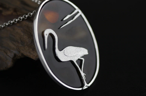Sterling Silver Natural Agate Egret Pendant Necklace - Egret Jewellery