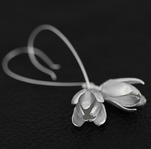 Solid 925 Sterling Silver Large Lily | Lotus Flower drop Hoop Earrings - Egret Jewellery
