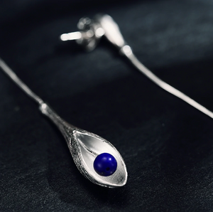 Long Solid 925 Sterling Silver Lily Flower Lapis Lazuli Drop Dangle Earrings - Egret Jewellery