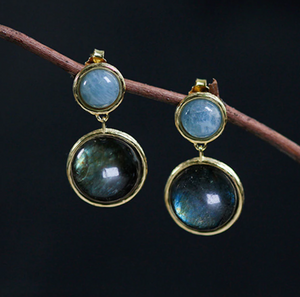 Natural Amazonite | Labradorite Gold Dangle Drop Earrings Sterling Silver - Egret Jewellery