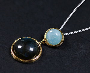 Sterling Silver | Gold Labradorite | Amazonite Circle Necklace Pendant - Egret Jewellery