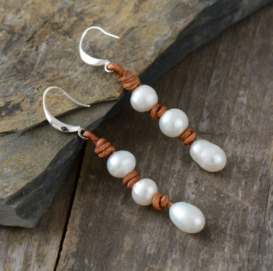 Natural Freshwater Pearl Brown Leather Drop Dangle Earrings - Egret Jewellery