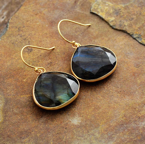 Large Natural Gemstone Labradorite Gold Dangle Drop Boho Earrings - Egret Jewellery