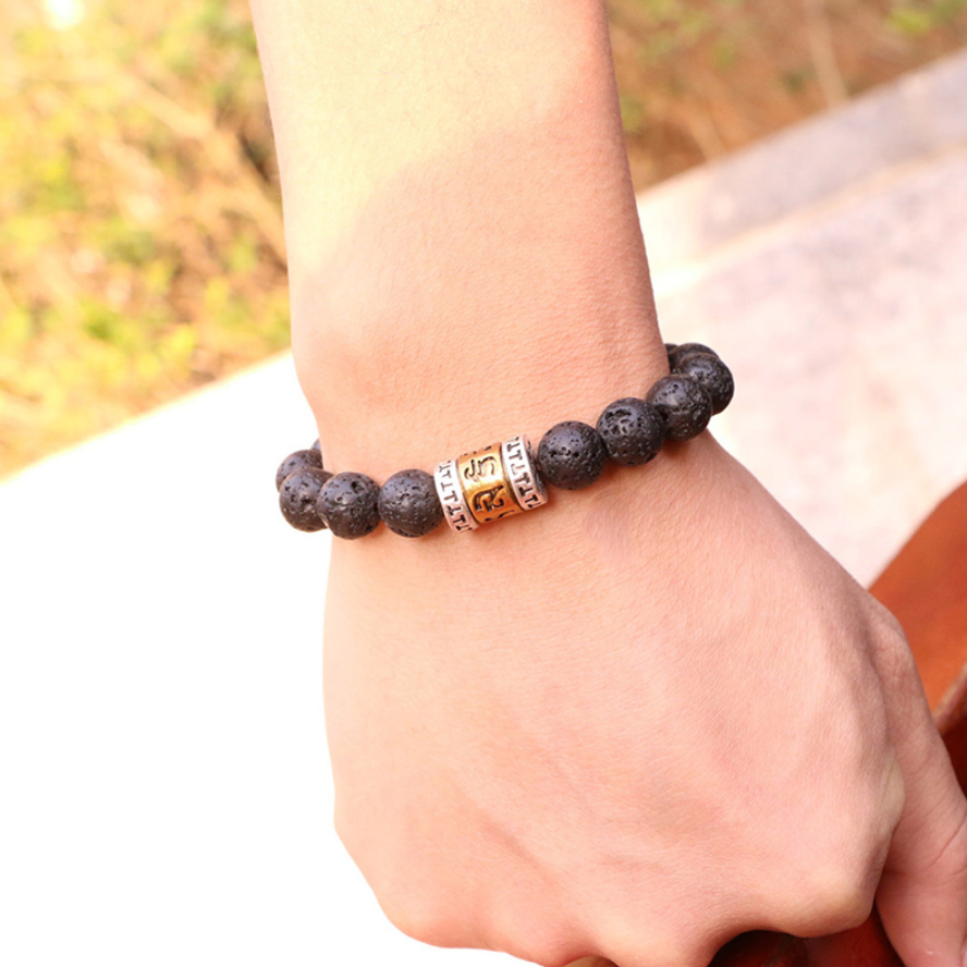 Black Lava Rock Beaded Cuff Bracelet Stackable Men's Women Six True Words OM - Egret Jewellery