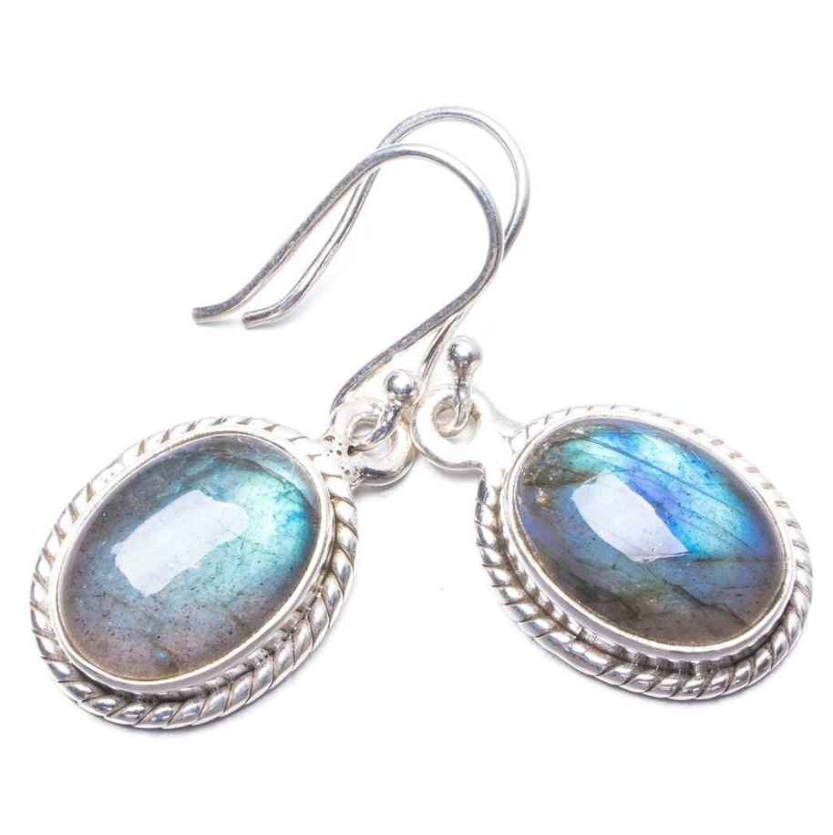 Natural Gemstone Labradorite Oval Sterling Silver Dangle Drop Earrings Boho - Egret Jewellery