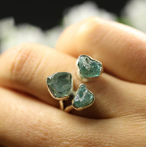 925 Sterling Silver Rough Aquamarine Gemstone Ring Green Stone Size L-T - Egret Jewellery