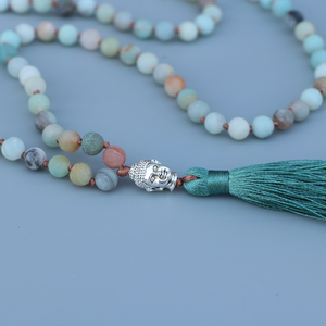 Long Matte Amazonite Beaded Buddha Tassel Necklace - Egret Jewellery