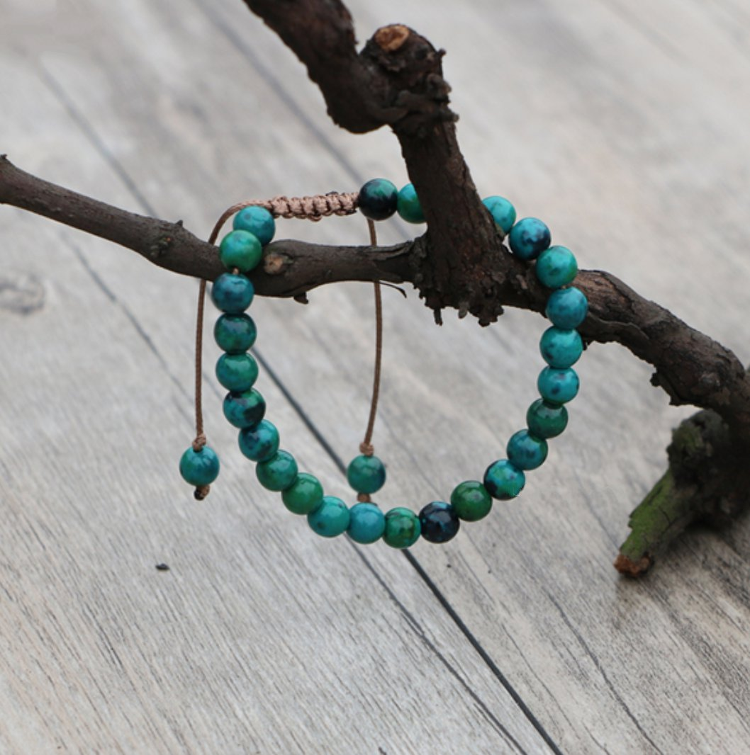 Natural Gemstone Chrysocolla Beaded Stacking Friendship Bracelet - Egret Jewellery