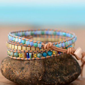 Natural Gemstone Wrap bracelet Tila beads Turquoise Geode - Egret Jewellery