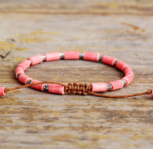 Natural Stone Pink Rhodonite Beaded Stacking Bracelet - Egret Jewellery