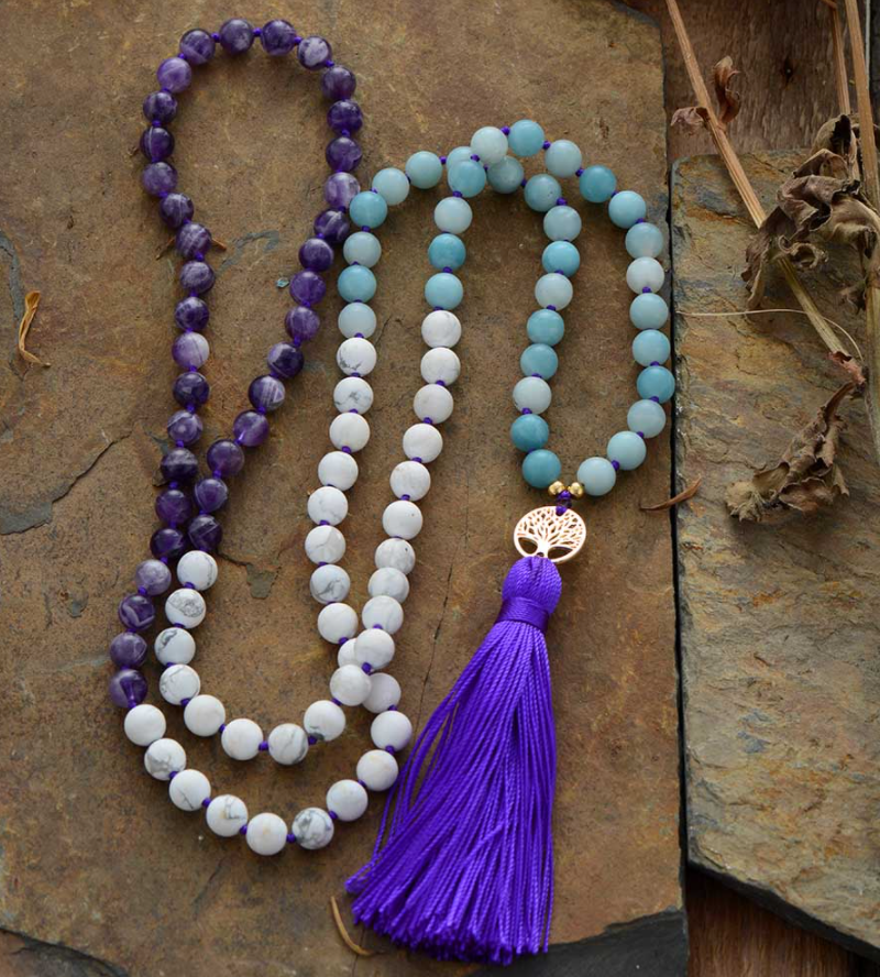 Natural Gemstone Beaded Mala Necklace Tree of life Amethyst Howlite Tassel - Egret Jewellery