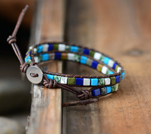 Natural Turquoise | Howlite Beaded Wrap Bracelet White Blue Square Leather - Egret Jewellery
