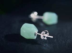Natural Green Rough | Raw Aventurine Sterling Silver Stud Butterfly Earrings - Egret Jewellery