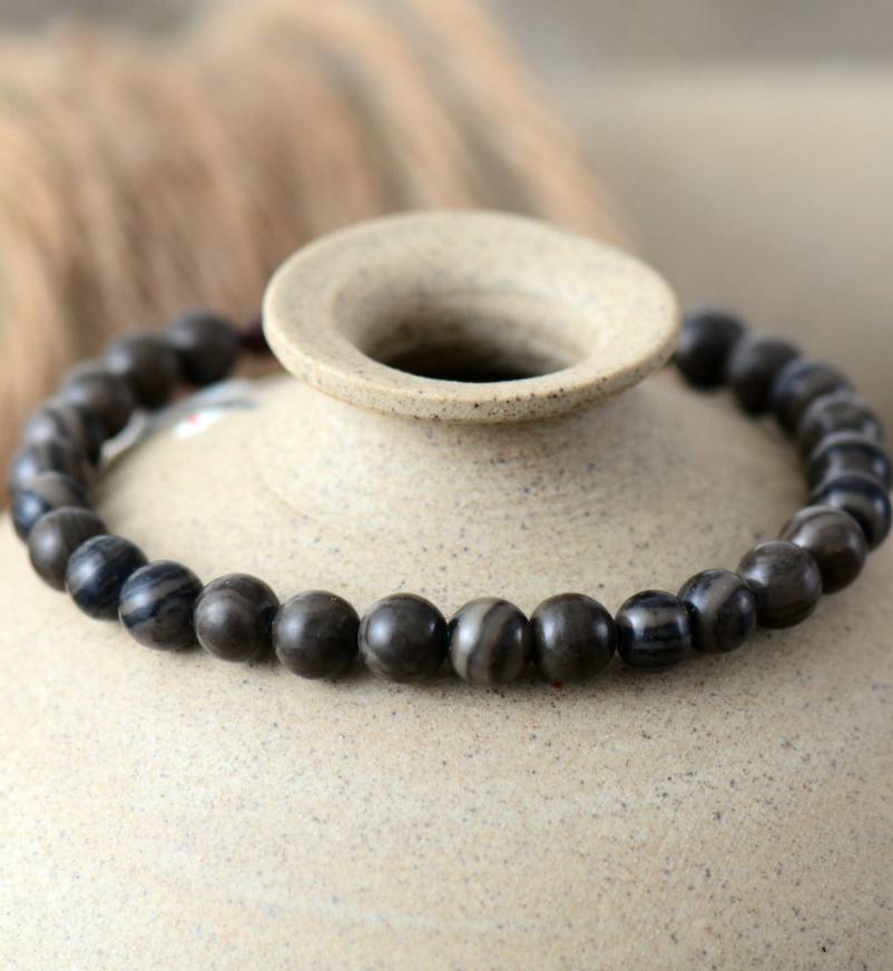 Natural Men's Black | Brown Jasper Beaded Cord Stacking Bracelet - Egret Jewellery