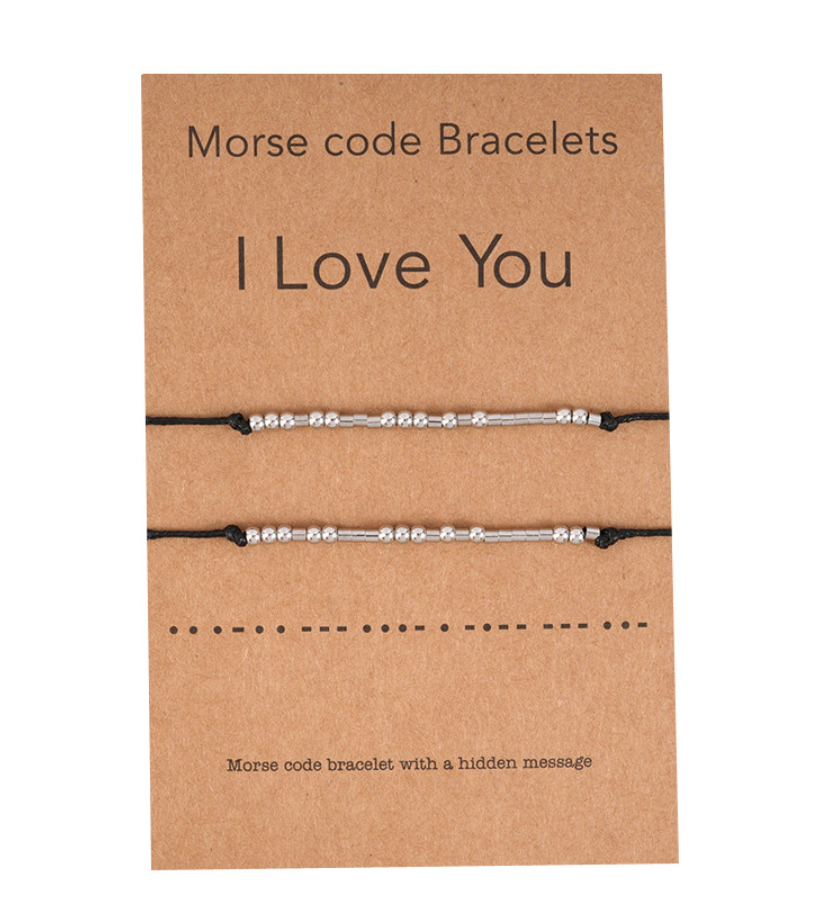 Two Matching Wishing Friendship Bracelets I Love You Morse Code - Egret Jewellery