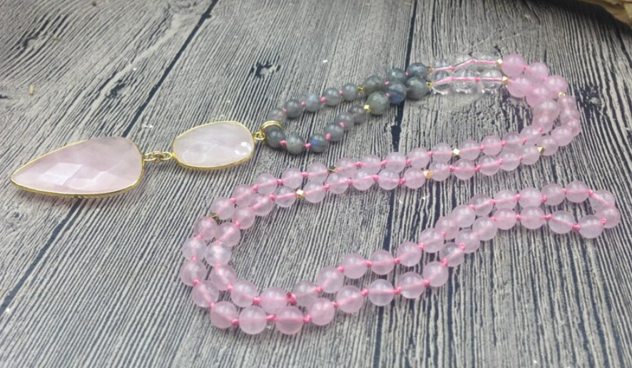 Natural Beaded Pink Rose Quartz Arrowhead Mala Geode Labradorite Heart Necklace - Egret Jewellery