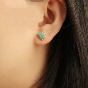 Sterling Silver Natural Rough Emerald Stud Earrings - Egret Jewellery