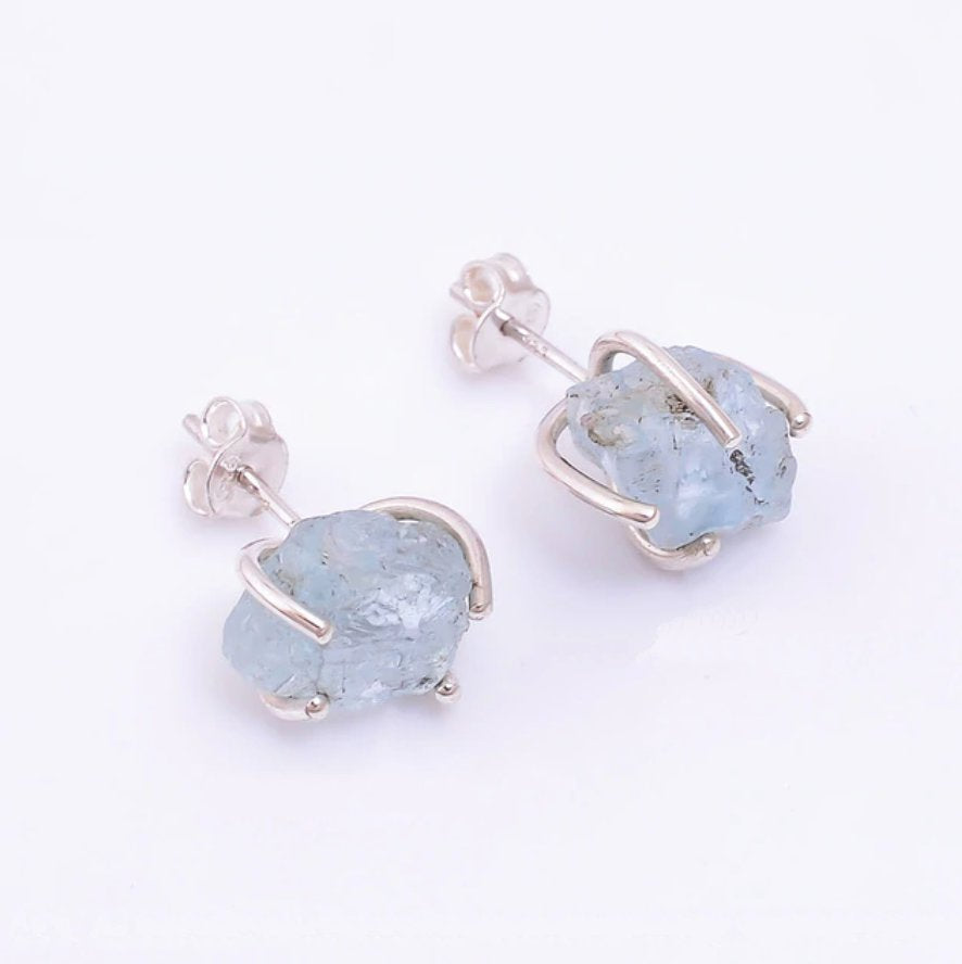 Sterling Silver Natural Rough Aquamarine Stud Earrings Stone Pale Blue - Egret Jewellery