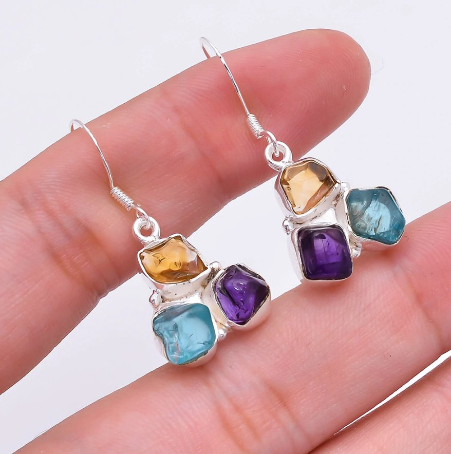 Natural Citrine | Apatite | Amethyst Sterling Silver Dangle Drop Earrings - Egret Jewellery