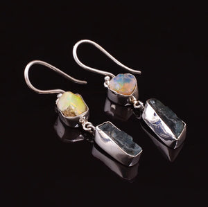 Natural Gemstone Rough Opal | Aquamarine Sterling Silver Dangle Drop Earrings - Egret Jewellery