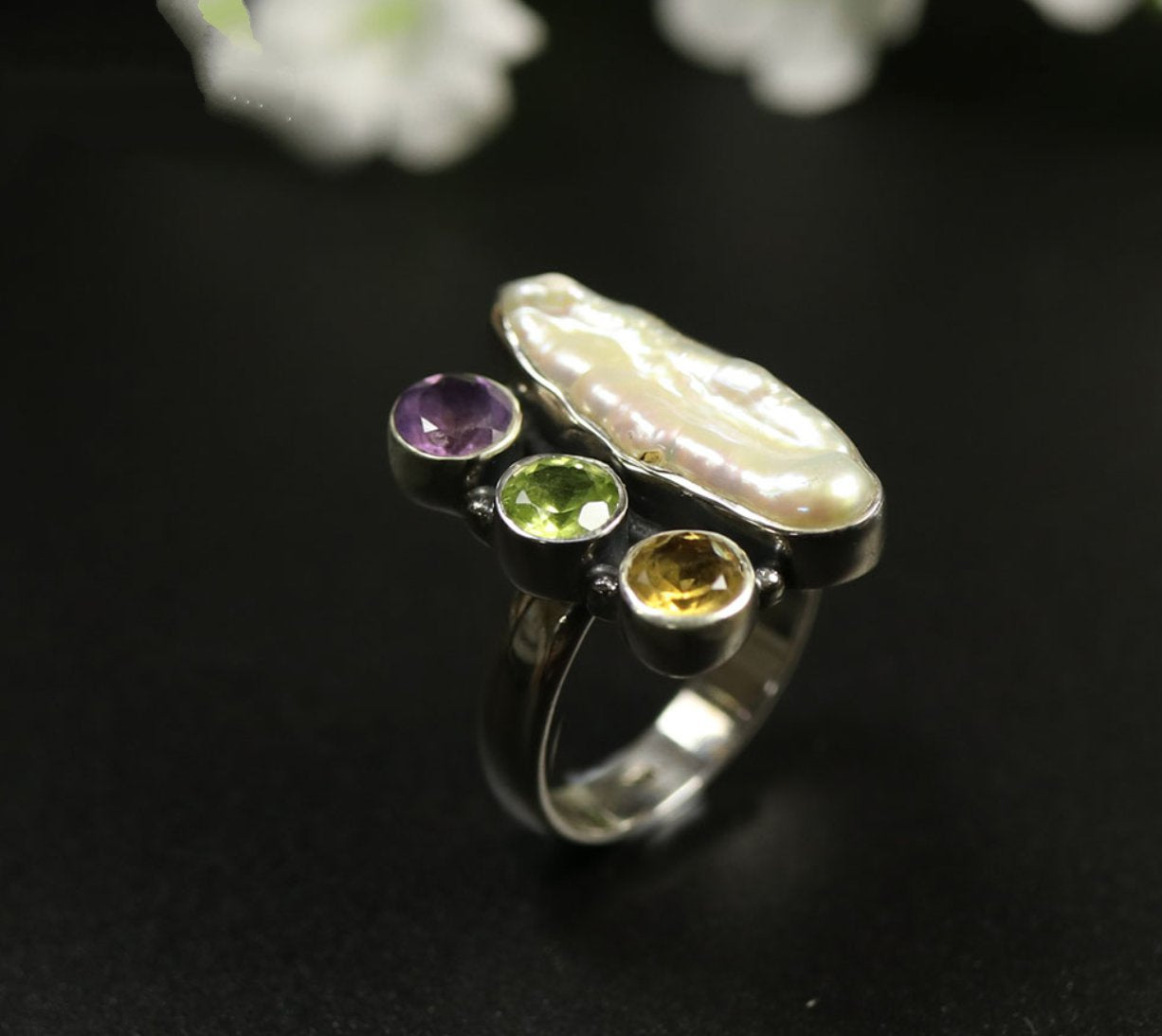 Natural Gemstone Sterling Silver Rough Garnet | Amethyst | Pearl Ring Size M 7 - Egret Jewellery
