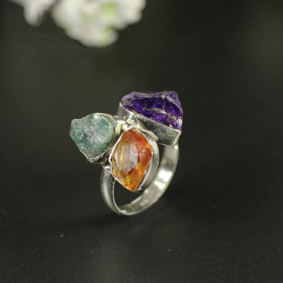 Natural Rough Gemstone Sterling Silver Citrine | Amethyst Ring Size M 7 - Egret Jewellery