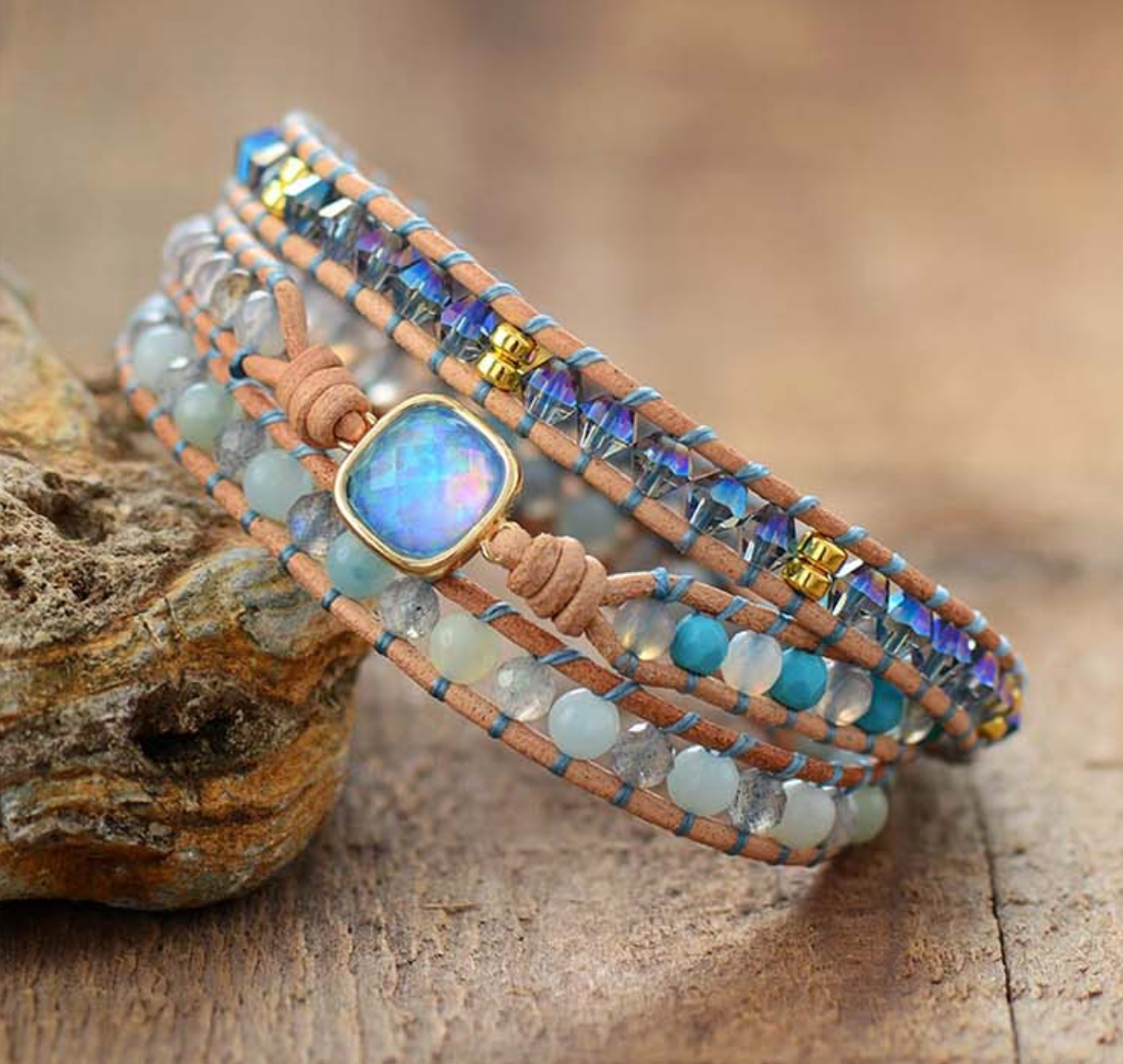 Natural Gemstone Amazonite | Turquoise Beaded Blue Opal Wrap Bracelet - Egret Jewellery