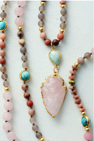 Natural Beaded Pink Rose Quartz Arrowhead Mala Geode Turquoise Necklace - Egret Jewellery