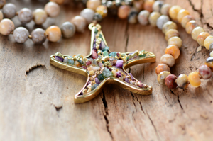 Rough | Raw Gemstone Pyrite Starfish Beaded Long Boho Necklace Gold Jasper Mala - Egret Jewellery