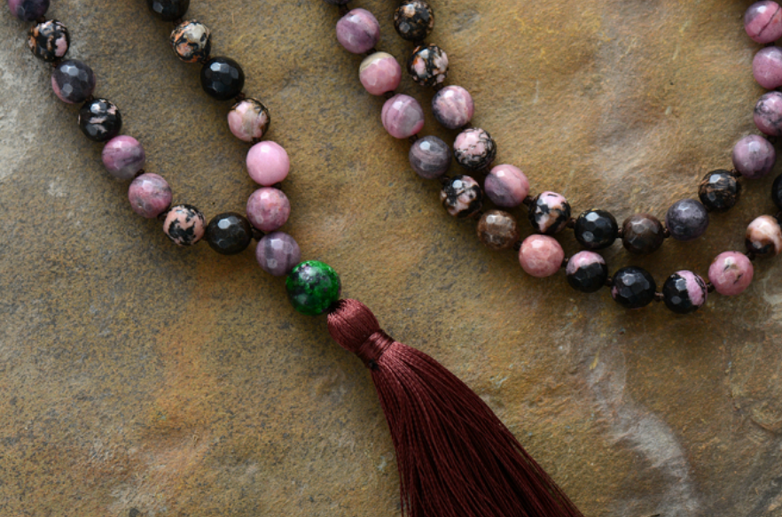 Long Beaded Mala Tassel Necklace Rhodonite - Egret Jewellery