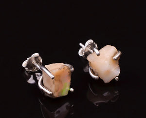 Sterling Silver Natural Rough Opal Stud Earrings Stone White - Egret Jewellery