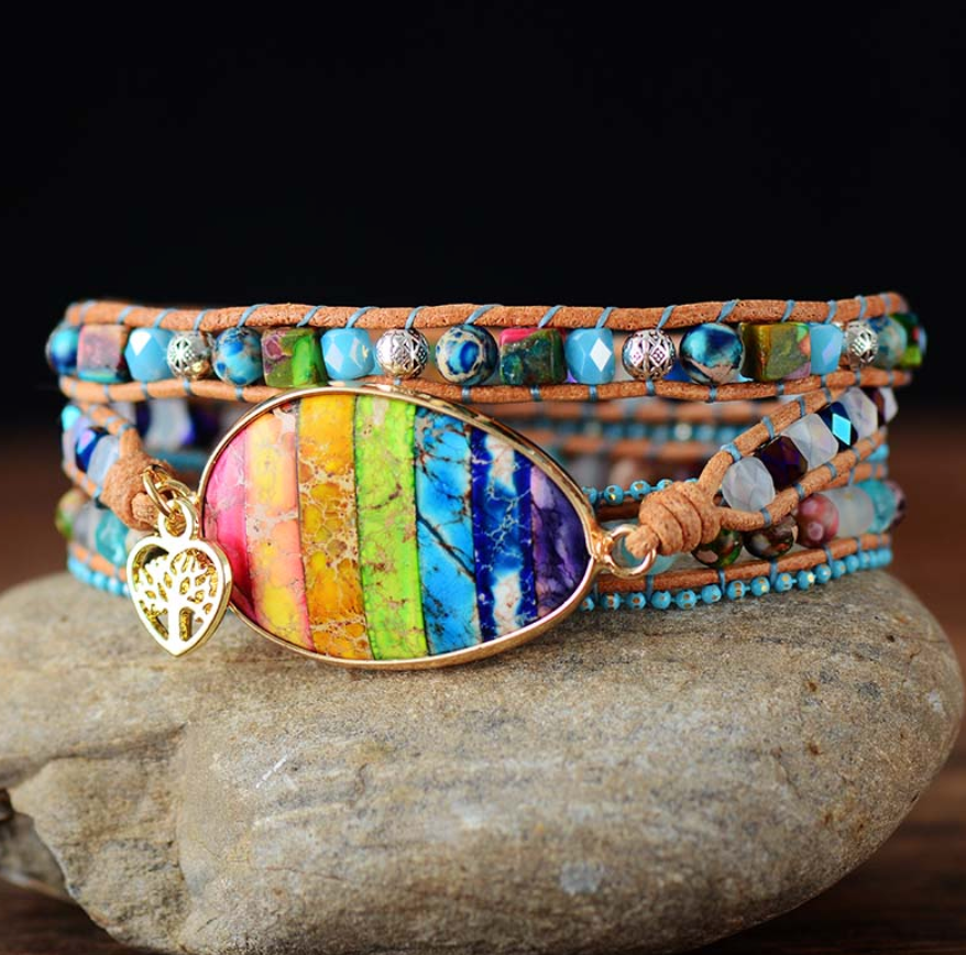 Natural Gemstone Beaded Rainbow Jasper Geode | Wrap Bracelet Tree of Life Charm - Egret Jewellery