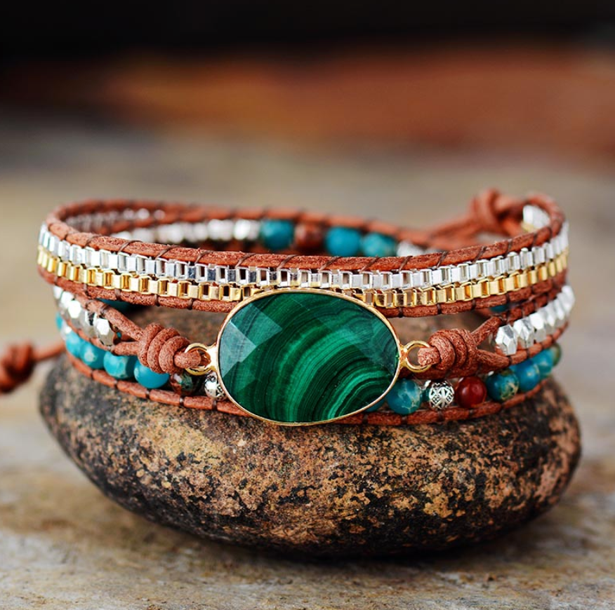 Natural Malachite Geode Beaded Jasper Wrap Bracelet - Egret Jewellery