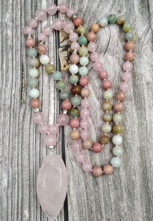 Natural Beaded Pink Rose Quartz Point | Jasper | Amazonite Geode Mala Necklace - Egret Jewellery