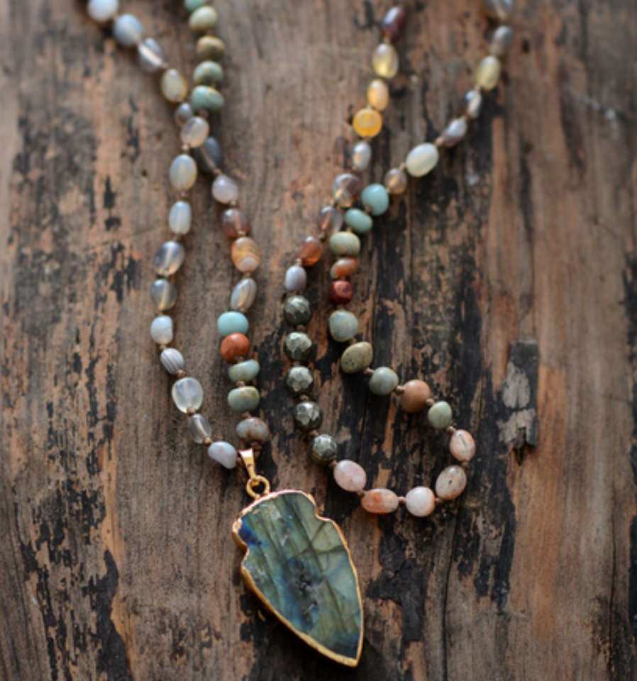 Natural Labradorite Beaded Arrowhead Long Boho Mala Necklace - Egret Jewellery