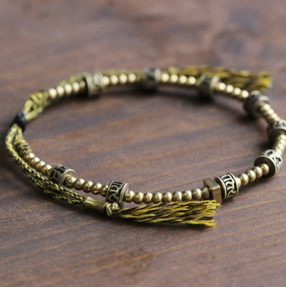 Tibetan Buddhist Brass Stacking Mantra Bracelet OM The six True Words Gold Men's - Egret Jewellery